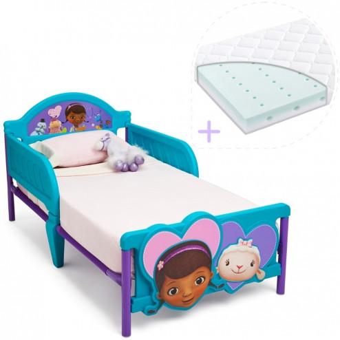 Set pat cu cadru metalic Disney Doctorita Plusica 3D si saltea pentru patut Dreamily - 140 x 70 x 10 cm