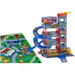 Garaj cu 4 nivele Globo cu covoras de joaca si 5 masini incluse 75 x 120 cm