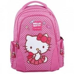 Ghiozdan Cls I-IV Hello Kitty Roz Buzunare Laterale Pigna si minge cadou