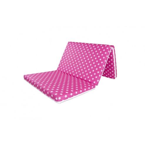 Saltea Pliabila din Spuma Poliuretanica MyKids, Pink Stars