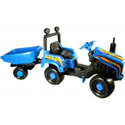 Tractor cu pedale si remorca Mega Farm albastru Super Plastic Toys