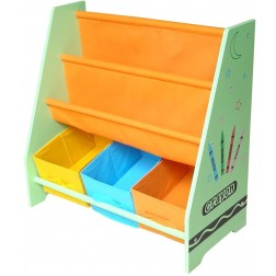 Organizator carti si jucarii cu cadru din lemn Green Crayon - Style