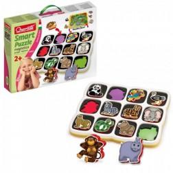 Joc creativitate si indemanare Quercetti Smart Puzzle cu 2 fete Savana