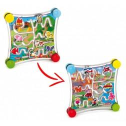 Joc creativitate si indemanare Puzzle Labirint cu 2 fete Masini si animale - Quercetti
