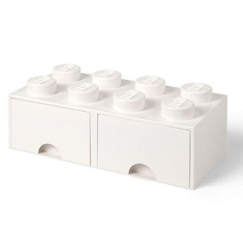 Cutie depozitare LEGO 2x4 cu sertare, alb (40061735)