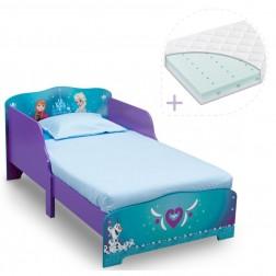 Set pat cu cadru din lemn Frozen si saltea pentru patut Dreamily - 140 x 70 x 10 cm