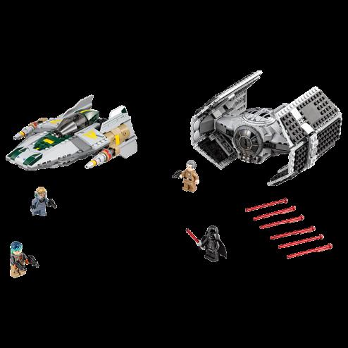 TIE Advanced al lui Vader contra A-Wing Starfighter (75150)
