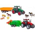 Set copii 2 tractoare cu frictiune trailer si 7 animale - Globo