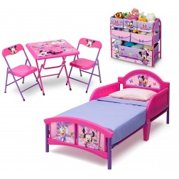 Set patut, organizator metalic si masuta cu doua scaunele Minnie Mouse