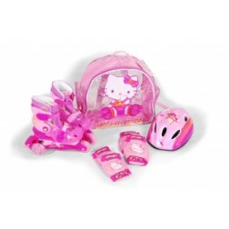 Role copii Saica reglabile 31-34 Hello Kitty cu protectii si casca in ghiozdan