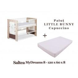 Patut Copii Din Lemn KLUPS LITTLE BUNNY Capuccino + Saltea MyDreams 8