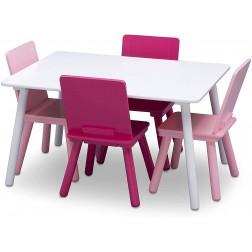 Set masuta si 4 scaunele, Alb/Roz