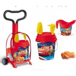 Troller cu ghiozdanel Cars Mondo pentru copii cu jucarii plaja si galetusa