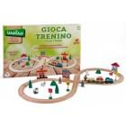 Set trenulet din lemn cu accesorii 40 piese - Globo Legnoland