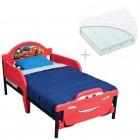 Set pat cu cadru metalic Disney Cars 3D si saltea pentru patut Dreamily - 140 x 70 x 10 cm