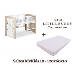 Patut Copii Din Lemn LITTLE BUNNY Capuccino + Saltea MyKids 10 - Klups