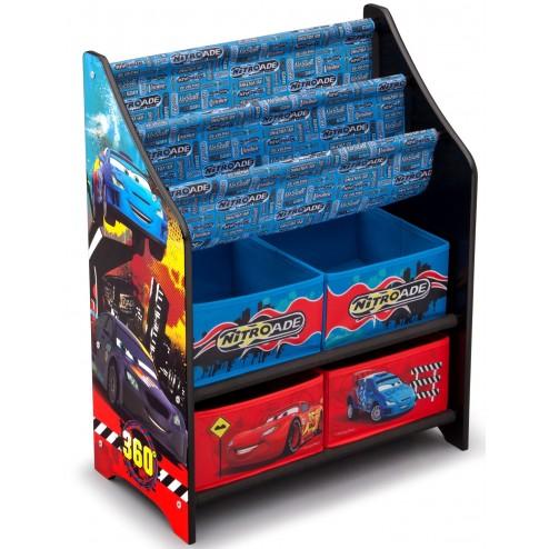 Organizator carti si jucarii cu cadru din lemn Disney Cars