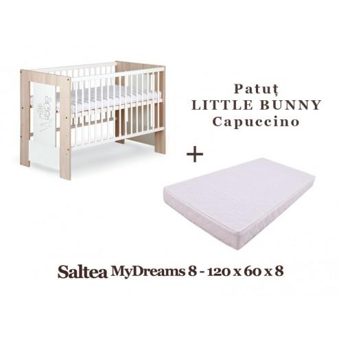 Patut Copii Din Lemn LITTLE BUNNY Capuccino + Saltea MyDreams 8 - Klups
