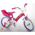 Bicicleta pentru fete 16 inch, cu scaun pentru papusi, roti ajutatoare si cosulet, Minnie Mouse