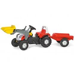 Tractor Cu Pedale Si Remorca Alb Rosu pentru copii - Rolly Toys