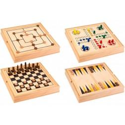 Set 5 in 1 - jocuri de societate in cutie lemn Globo