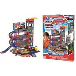 Set garaj 5 etaje cu 6 masinute metalice, rampa si covoras de joaca - RS Toys