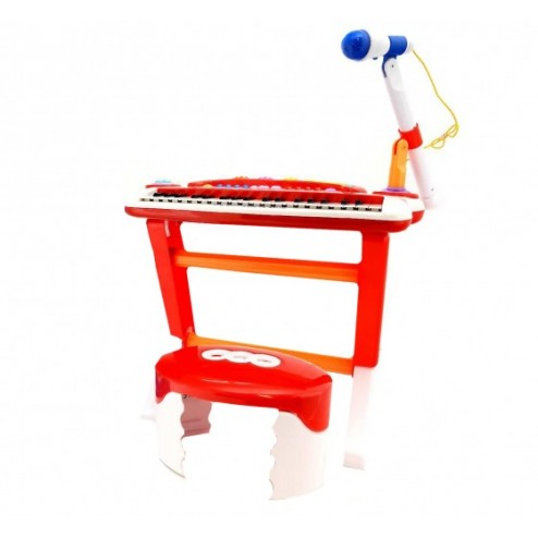 Orga muzicala cu microfon, 37 taste si 8 ritmuri muzicale, cu scaunel inclus - Globo