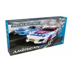 Pista masinute American GT Scalextric 5m traseu masinute GT Lightning No 27 Race Car si GT Eagle No 66 Race Car