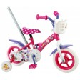 Bicicleta pentru fete, 10 inch, cu maner, roti ajutatoare si cosulet, Minnie Mouse