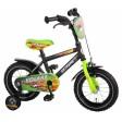 Bicicleta copii baieti 12 inch Volare Extreme cu roti ajutatoare si vopsea negru mat