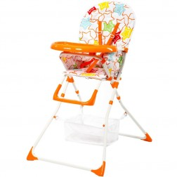 Scaun de masa pentru copii Niami cadru alb Mamakids - Portocaliu cu Stelute