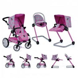 Set Carucior Papausi Icoo Grow With Me Dot Pink Grey