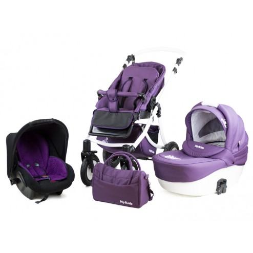 Carucior Pentru Copii 3 In 1 Mykids Amber Purple-White