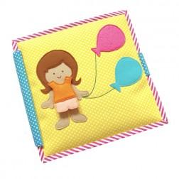 Carti educative din fetru cu activitati pentru copii Balloon Girl Quiet books - Jolly Designs