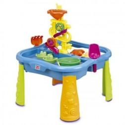 Masuta de joaca pentru apa si nisip Grown Up Sand and Surf cu jucarii incluse si husa protectie