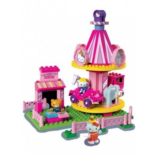 Set constructie Unico Plus Hello Kitty Parc de distractii cu carusel 75 piese