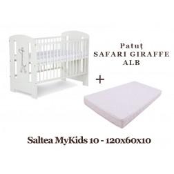 Patut copii Safari Giraffe Alb si Saltea MyKids 10 Klups