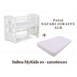 Patut KLUPS Safari Giraffe Alb + Saltea MyKids 10