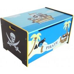 Ladita din lemn pentru depozitare jucarii copii Blue Pirate Treasure Chest Style