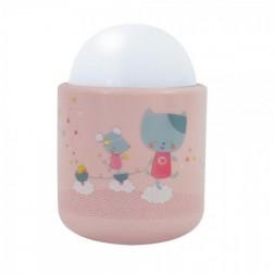 Lampa de veghe Pabobo Nomade Pisicuta si Soricel culoare Roz pal cu Led reincarcabila