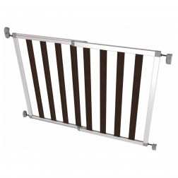 Poarta de siguranta extensibila din aluminiu si lemn IKON NOIR, 62-104 cm, argintie, NOMA