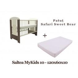 Patut copii Klups Safari Sweet Bear + Saltea MyKids 10