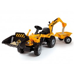 Tractor copii Smoby 033389 Builder Max cu remorca si cupa excavator