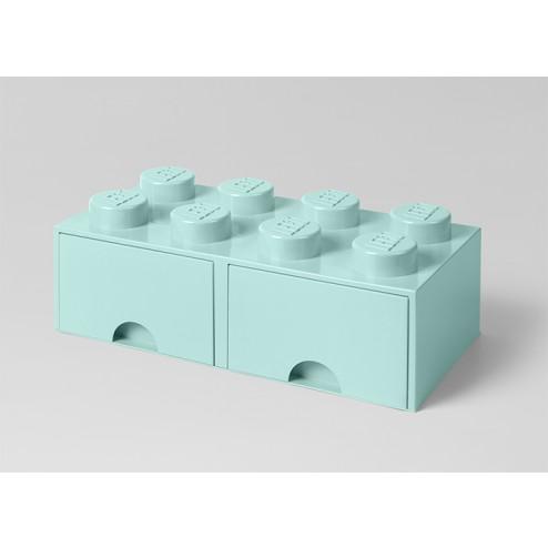 Cutie depozitare LEGO 2x4 cu sertare, aqua (40061742)