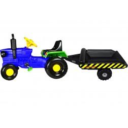 Tractor cu pedale si remorca Turbo blue - Super Plastic Toys
