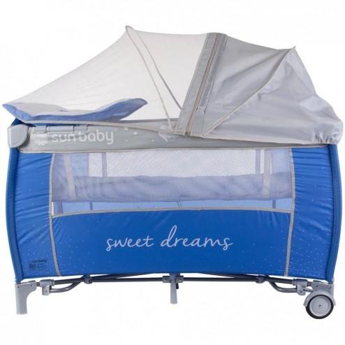 Patut Pliabil cu Sistem de Leganare Sweet Dreams - Sun Baby - Albastru