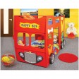 Patut in forma de masina Happy Bus - Plastiko - Rosu