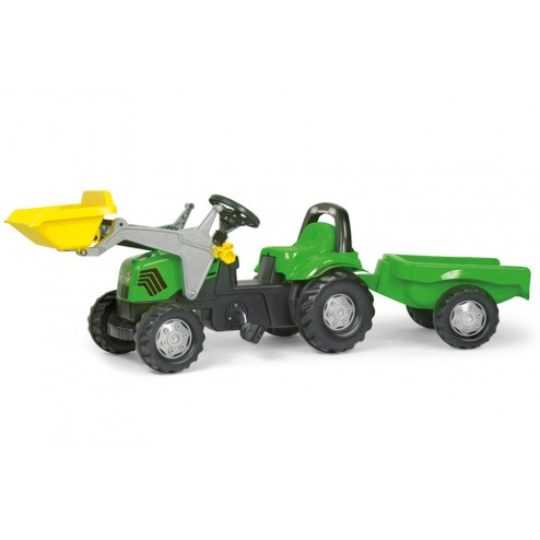 Tractor Cu Pedale Si Remorca verde pentru copii - Rolly Toys