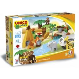 Set constructie cuburi Safari mari 55 piese - Unico