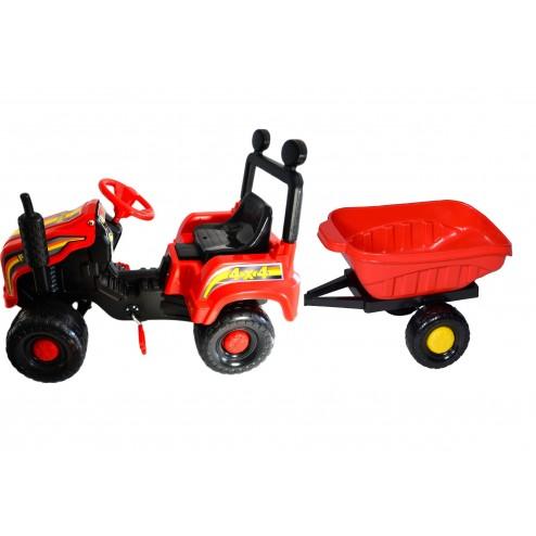 Tractor cu pedale si remorca Mega Farm rosu Super Plastic Toys